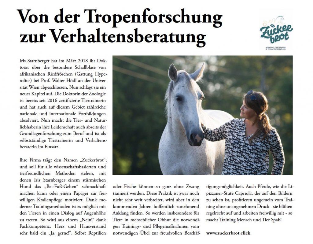 Tropenforschung, Verhaltensberatung, Frau, Pferd, Zeitungsartikel